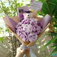Rose Medium Bouquet + Boneka Wisuda / Bucket Buket Bunga Graduation
