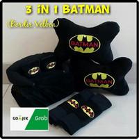 Bantal Mobil Kartun Batman Set 3 in 1 / Bantal Jok Mobil Batman Set