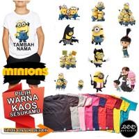 Kaos Baju anak Minion Custom Nama 1-8 tahun unisex Cotton Combed 30s