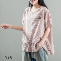 Taco Mexico Cotton Linen Ruffle Blouse Top Baju Jepang Wanita Katun