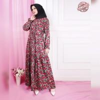 gamis xl dress bunga ami merah katun rayon adem baju muslim amb ktf