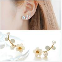 Anting Tindik Mini Wanita Mutiara BUNGA E114 Korea Fashion Women Pearl