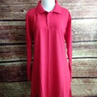 S-XL Baju Kaos Polos Muslimah Polo Lacoste Panjang Syari Busui - Putih