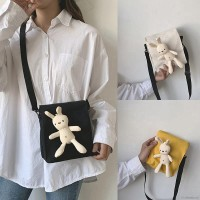 Tas Bahu Messenger Model Boneka Kelinci Lucu, Bahan Kanvas, Warna