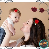 Bandana mawar set ibu dan anak, Bandana headband penjepit couple