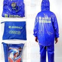 Jas Hujan Axio karet Biru Pvc original like GMA - mantel raincoat