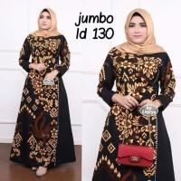 Baju dress gamis wanita super jumbo ld 130 batik kombinasi motif