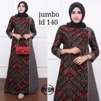 Baju dress gamis wanita batik katun kombinasi super jumbo ld 140