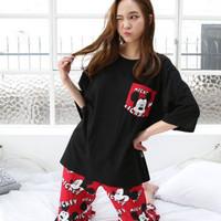 Baju Tidur Wanita Piyama Pejamas Red Black Mickey Mouse JE238-5