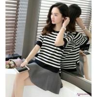 Kaos T-Shirt Wanita Lengan Pendek Model Longgar Nyaman Motif Garis