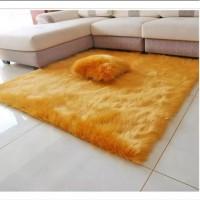 Karpet bulu lantai ukuran 200x150x3cm halus dan lembut - emas