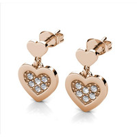 Larine Love Earrings - Anting Crystal by Her Jewellery - Rose Gold