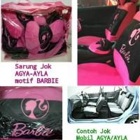 Sarung Jok Mobil AGYA/AYLA Full Set Depan Belakang Motif BARBIE Pink