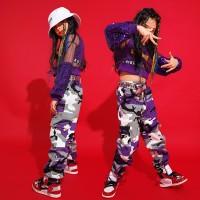 Sequin Kids Hip Hop Dance Clothing for Girls Boys T Shirt Tops