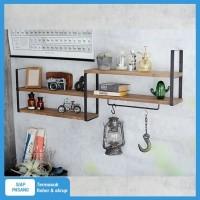Triple lebar 15cm TORA rak dinding 2 ambalan kayu dan besi buku murah