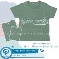 Kaos Polos Anak Lengan Pendek Model Twotone Combed 30s - Green Misty