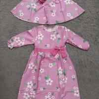 BAJU MUSLIM GAMIS DRESS KERUDUNG ANAK 1-6TH MOTIF PINK FLOWER