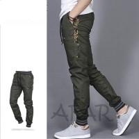 celana joger pria list army -jogger pants pria green army
