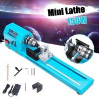 Mesin Bubut Kayu Mini Lathe Beads Grinding Polisher DIY 150W - Blue