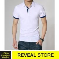 Kaos Polo Shirt Levis White Stripe Blue / Kerah Wangki