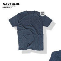 KAOS POLOS BLUE NAVY MISTY TWOTONE COTTON COMBED 30S