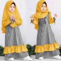 Dress & Jumpsuit Gamis Muslim Anak Perempuan-Mustard
