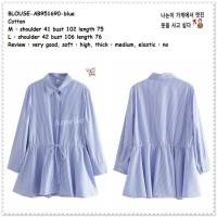AB251690 Baju Atasan Kemeja Garis Wanita Korea Import Tunik Jumbo Big