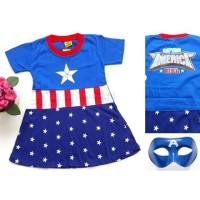 Kostum baju dress anak perempuan captain america girl