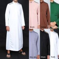 Jubah Muslim Saudi Resleting Lengan Panjang - Gamis Pria -Baju Lebaran