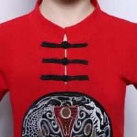 Promo Baju Imlek Anak Cowo Merah Cheongsam Naga Congsam Bagus Merah