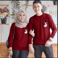 Couple sarangheo maroon baju remaja pasangan kaos couple sad vt