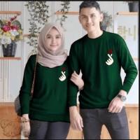 Couple sarangheo hijau botol baju remaja pasangan kaos couple sad vt