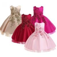 Gaun Pesta Anak Perempuan/ Dress Satin Flower/ Baju Ultah Party Import