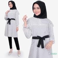 Atasan Muslim Wanita   Polka White Tunik   Tazkia Hijab Store Original