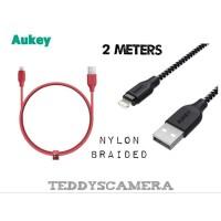 AUKEY CABLE DATA LIGHTNING IPHONE NYLON BRAIDED 2M FAST CHARGING MFI