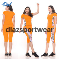 Set baju senam jumbo wanita orange pakaian olahraga cewek - Orange, M