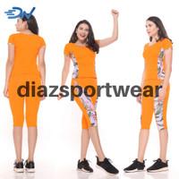 Set baju senam jumbo wanita orange pakaian olahraga cewek