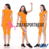 Baju senam wanita setelan baju olahraga cewek celana senam wanita - Orange, M