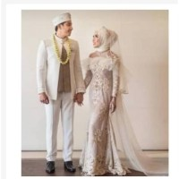 Dress pengantin hijab couple - akad nikah - baju pengantin akad
