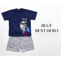 BLUE BEST HERO SUIT setelan anak laki laki perlengkapan babeebabyshop