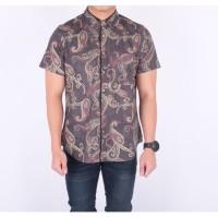 baju batik songket brown slimfit / kemeja pria batik lengan pendek