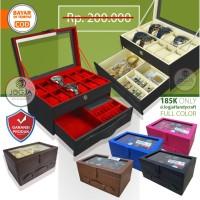 [GRADE ORI] Watch Box / Kotak Tempat Jam Tangan Isi 12 Laci Perhiasan.