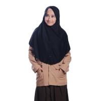 Kerudung Sekolah Rabbani Hemy M Scarf Jilbab Instan Kaos Nyaman Khimar - Hitam