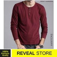 PREMIUM Kaos Lengan Panjang Follback Original Polos Merah Maroon Pria
