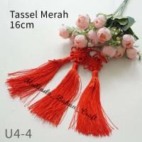 tassel shanghai merah 16 cm. jual per pcs. untuk anting bros jepit u4