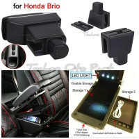 Armrest Console Box Honda Brio Dual Layer 7 Usb + Led Light
