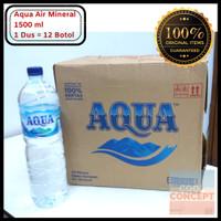 Aqua Botol Air Mineral 1500 ml 1 Dus Isi 12 Botol 1,5 L (Gojek/Grab)
