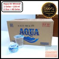 Aqua Gelas Air Mineral 220 ml 1 Dus Karton Isi 48 Cup Air Minum