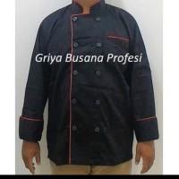 JUMBO 3XL Seragam Baju Chef Baju Koki Hitam Lengan Panjang XXXL Ld140