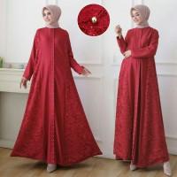 Gamis / Maxi / Baju Wanita Muslim Aira Moscrepe Kombi Brukat & Mutiara